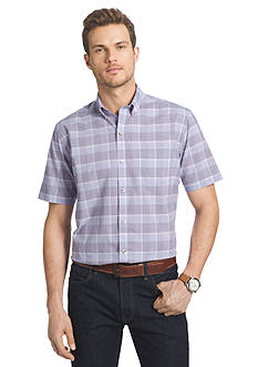 Van Heusen Short Sleeve Large Plaid Cool Shirt