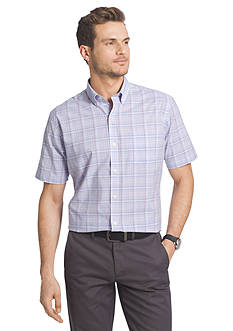 Van Heusen Short Sleeve Medium Plaid Cool Shirt