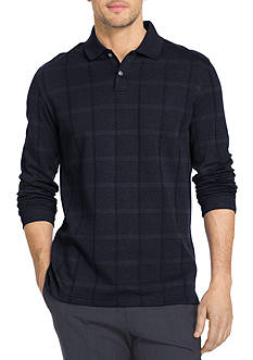 Van Heusen Long Sleeve Jaspe Windowpane Polo Shirt