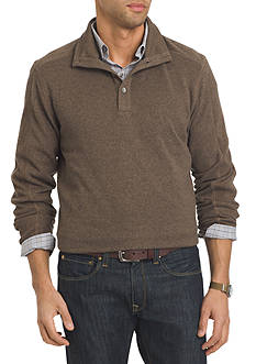 Van Heusen Long Sleeve Solid Button Mock Sweater Fleece