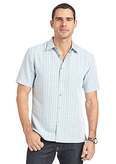 Van Heusen Big & Tall Short Sleeve Dobby Point Collar Woven Shirt
