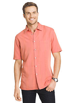 Van Heusen Big & Tall Short Sleeve Stripe Dobby Point Collar Sport Shirt