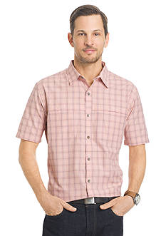 Van Heusen Big & Tall Short Sleeve Check Traveler Camp Woven Shirt