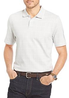 Van Heusen Big & Tall Short Sleeve Jacquard Windowpane Knit Polo Shirt
