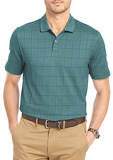 Van Heusen Big & Tall Short Sleeve Jacquard Windowpane Knit Polo Shirt