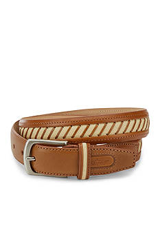 Greg Norman Collection Leather and Canvas Inlay Striped Belt