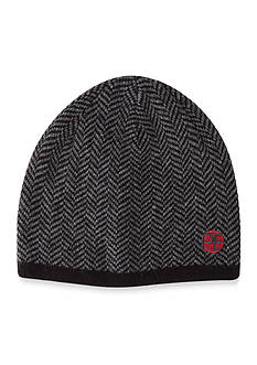Perry Ellis Herringbone Pattern Knit Beanie Cap