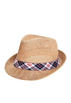 Saddlebred Straw Fedora with Plaid Band