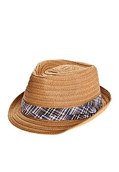 Saddlebred Straw Fedora with Blue Plaid Ribbon