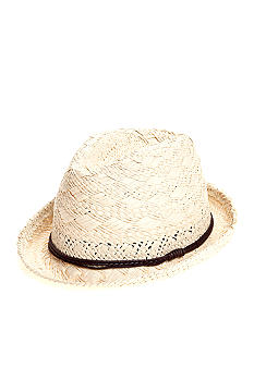 Saddlebred Straw Fedora with Brown Leather Band