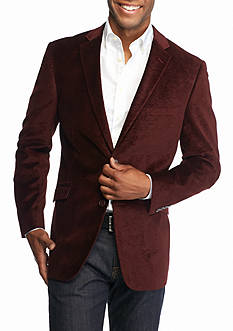 Madison Big & Tall Burgundy Paisley Velvet Sport Coat