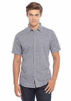 Michael Kors Short Sleeve Tailored Fit Gingham Woven Shirt