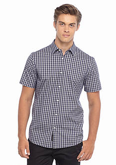 Michael Kors Short Sleeve Tailored Fit Joseph Check Woven Shirt