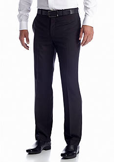 Lauren Ralph Lauren Tailored Clothing Black Solid Flat Front Pants