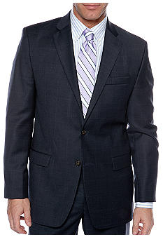 Lauren Ralph Lauren Tailored Clothing Navy Windowpane Suit Separate Coat