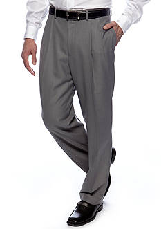 Lauren Ralph Lauren Tailored Clothing Classic Fit Sharkskin Pleated Wrinkle-Free Dress Pants