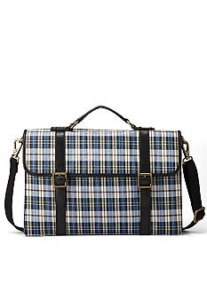 Fossil Plaid Estate Portfolio Bag