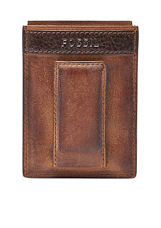 Fossil Quinn Leather Magnetic Card Case Wallet