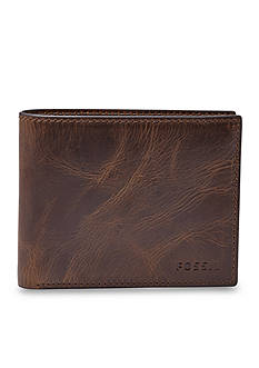Fossil Derrick Leather RFID Bifold with Flip ID Wallet