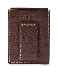 Fossil Lincoln Leather Magnetic Card Case Wallet