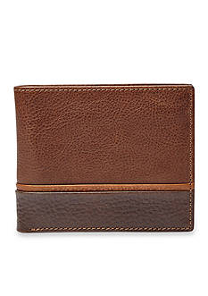 Fossil Ian Leather Bifold With Flip ID Wallet