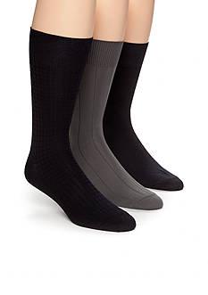 Calvin Klein 3-Pack Textured Microfiber Dress Socks