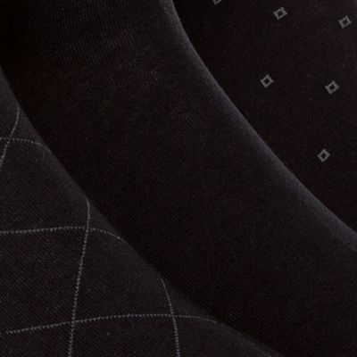 Mens Dress Socks: Black Calvin Klein 3-Pack Patterned Dress Socks