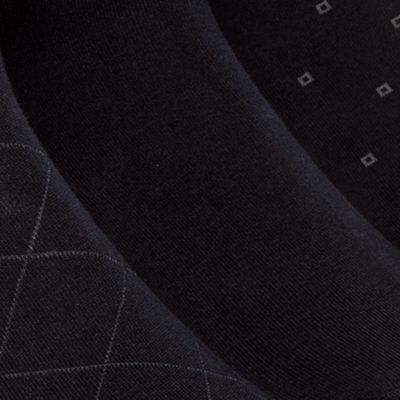 Mens Dress Socks: Navy Calvin Klein 3-Pack Patterned Dress Socks