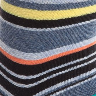 Designer Socks for Men: Chambray Heather Calvin Klein Multi-Color Stripe Crew Socks - Single Pair