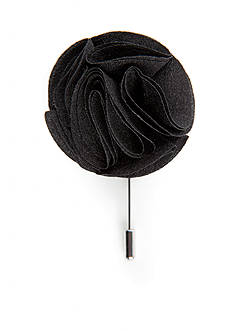 Madison Black Linen Flower Lapel Pin.