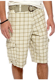 Red Camel Kahaki Plaid Cargo Shorts