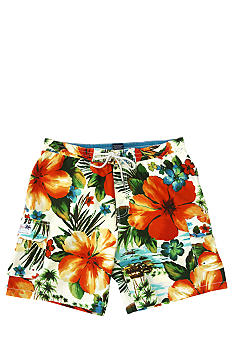 Caribbean Joe Tropical Print Fashion Swim Trunk