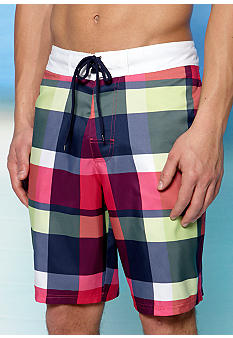 Red Camel Plaid Outseam Swim Trunks