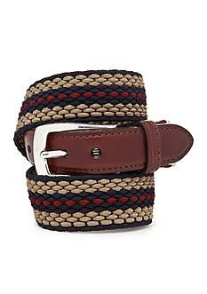 Brighton Nantucket Leather Fabric Striped Belt