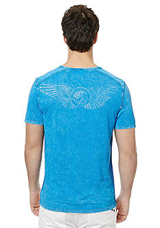 BUFFALO DAVID BITTON Narwayned Short Sleeve Split Neck Henley Shirt