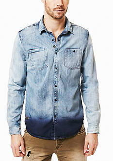 BUFFALO DAVID BITTON Sarel Light Denim Dip Dye Shirt