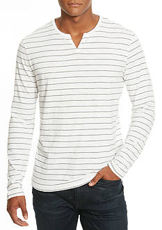 Kenneth Cole Long Sleeve Marled Stripe Henley Shirt