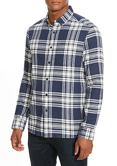 Kenneth Cole Long Sleeve Single Pocket Flannel Shirt