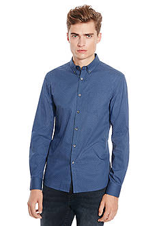 Kenneth Cole New York Long Sleeve One Pocket Dot Print Shirt