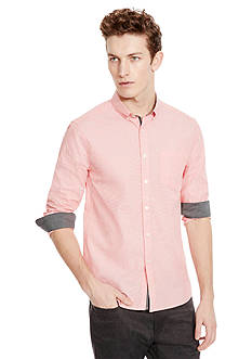 Kenneth Cole New York Long Sleeve Button Down Collar End On End Shirt
