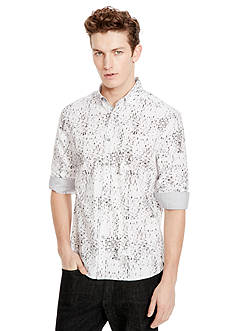 Kenneth Cole New York Long Sleeve Slim Button Down Print Shirt