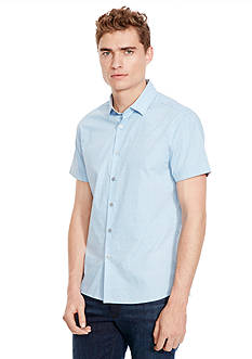 Kenneth Cole New York Short Sleeve Button Down Slim Dot Print Shirt