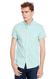 Kenneth Cole Short Sleeve Slim Button Down Print Shirt