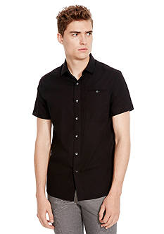 Kenneth Cole Short Sleeve Button Down Ripstop Shirt
