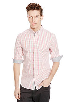 Kenneth Cole Long Sleeve Button Down Collar Slim Fit Checkered Shirt