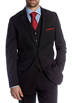 Adolfo Classic Fit Black Solid Suit Separate Coat