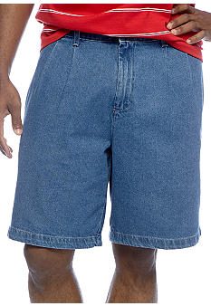 Saddlebred Pleated Denim Shorts