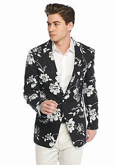 Tallia Orange Slim-Fit Floral Sport Coat