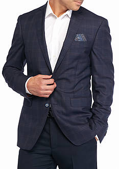 Tallia Orange Slim-Fit Windowpane Sport Coat