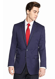 Tallia Orange Slim-Fit Navy Sport Coat With Contrast Piping
